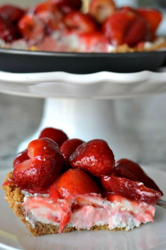 Fresh strawberry pie with a graham cracker crust