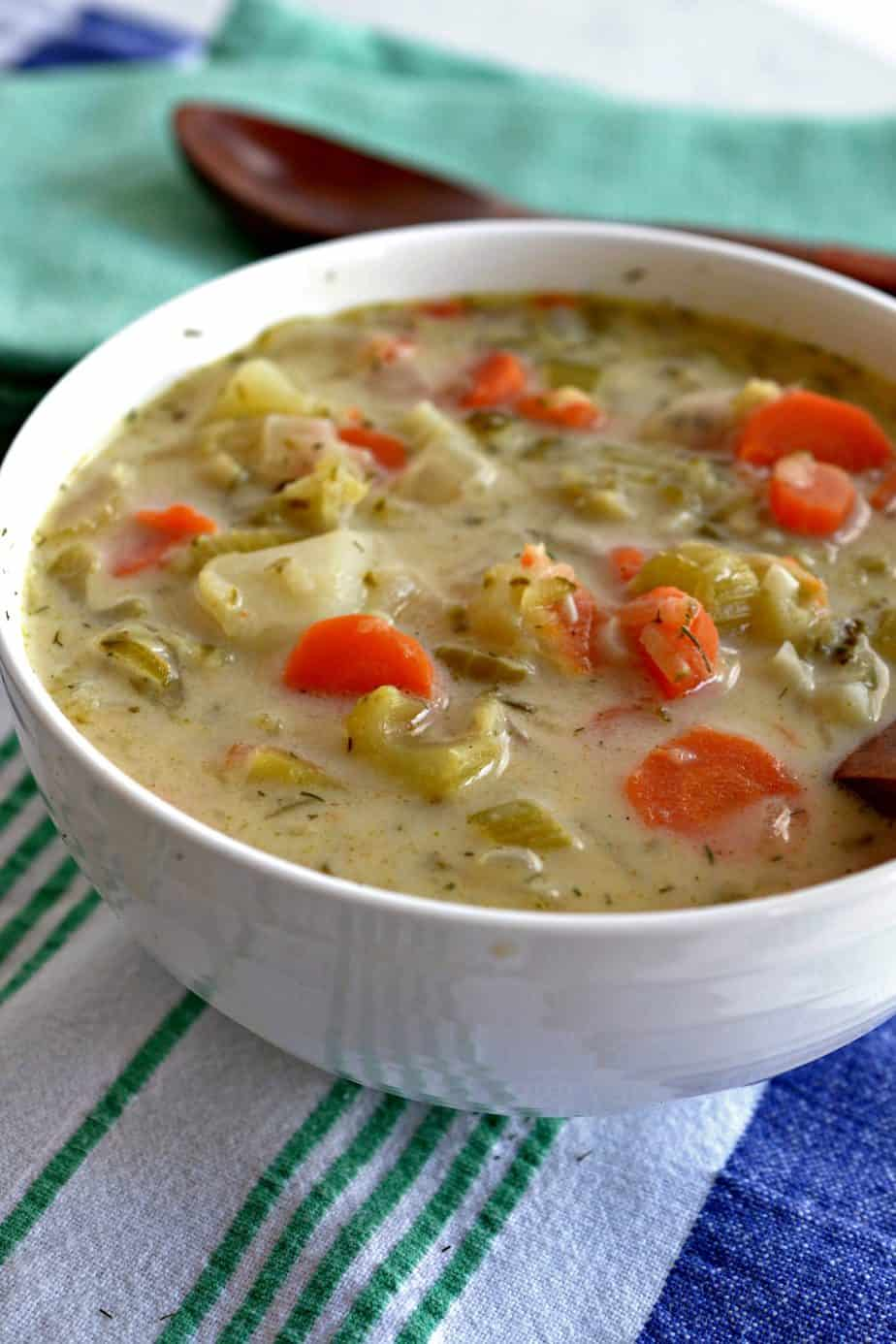This Creamy Dill Soup has tender carrots, celery and onions in a creamy broth, seasoned with herbs and spices