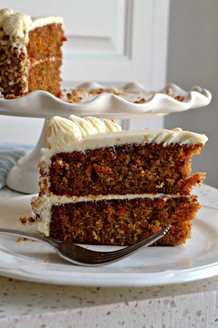 A delectable moist holiday carrot cake with a silky cream cheese frosting.