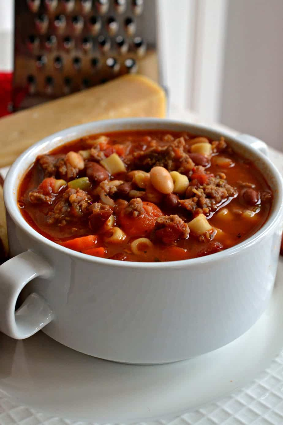 Pasta e Fagioli is a delectable Italian soup that combines Italian sausage, vegetables and beans in a rich tomato base.