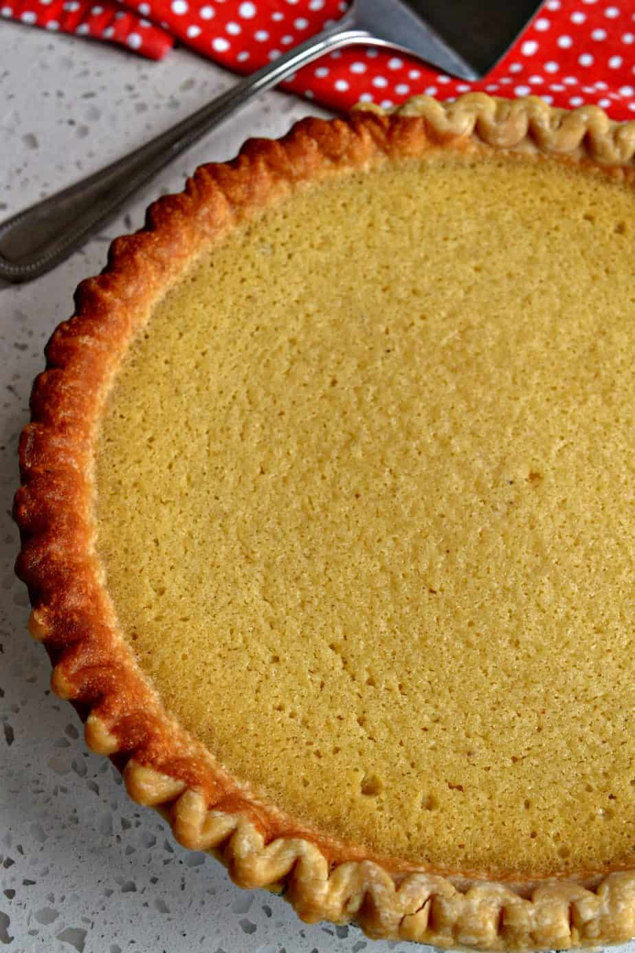 Sweet and creamy buttermilk pie is an easy pie to make for family gatherings, potlucks, or holidays