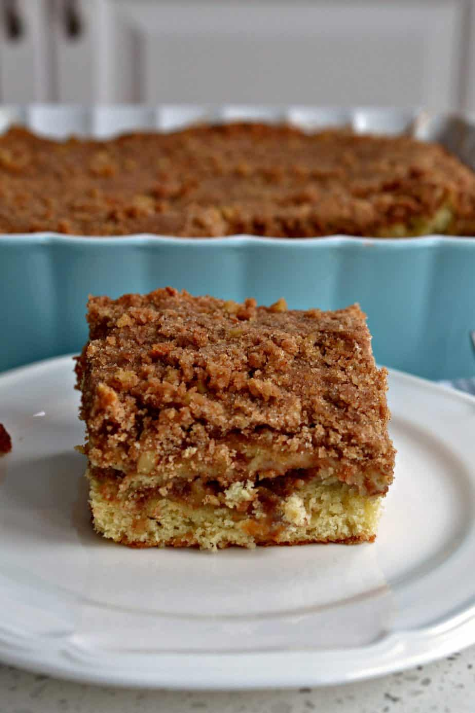 This family friendly coffee cake combines sour cream and butter for a moist rich decadent cake.
