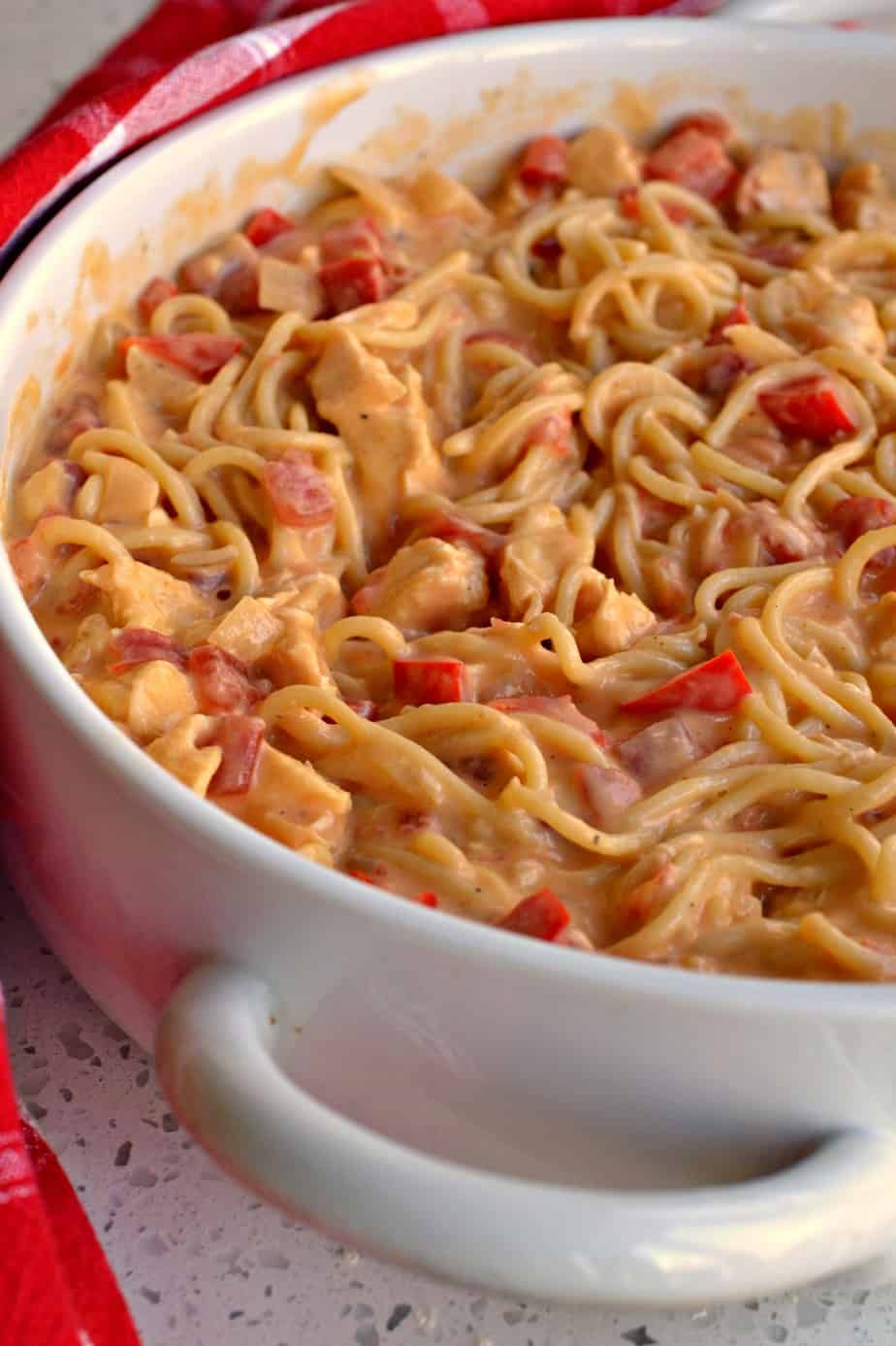 Chicken spaghetti is the ultimate in comfort food.