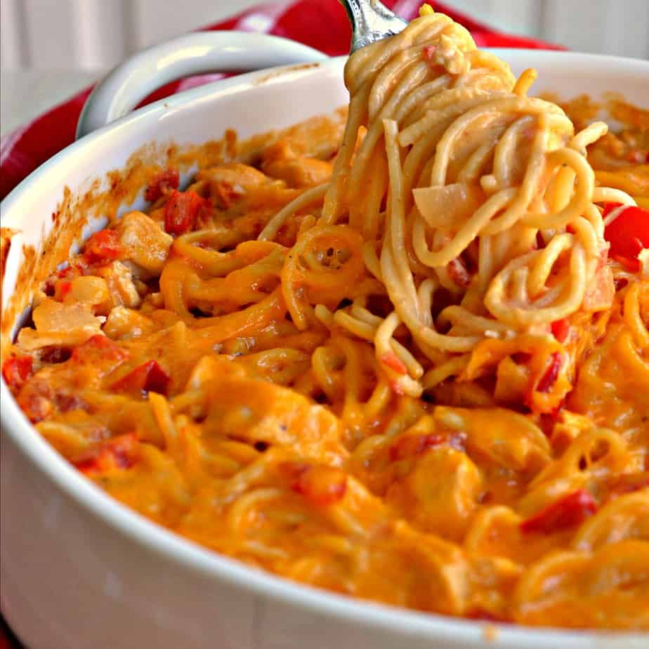 Chicken Spaghetti with a creamy cheddar Parmesan cheese sauce.