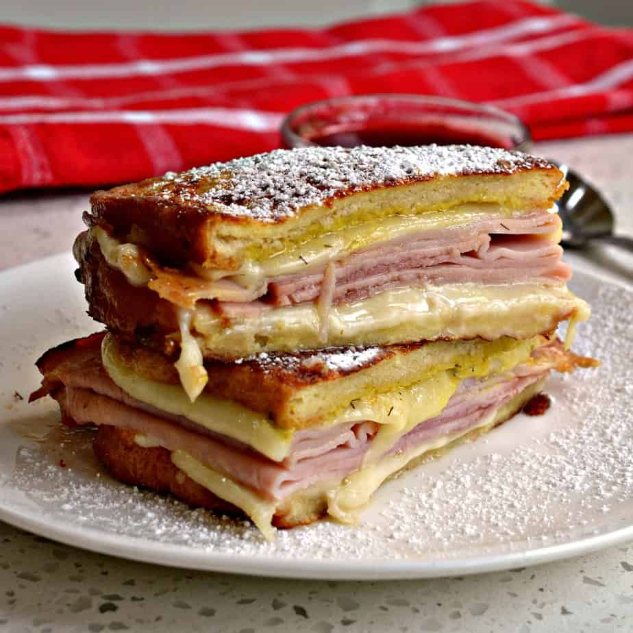 This delectable Monte Cristo sandwich is like eating a loaded grilled cheese on french bread.