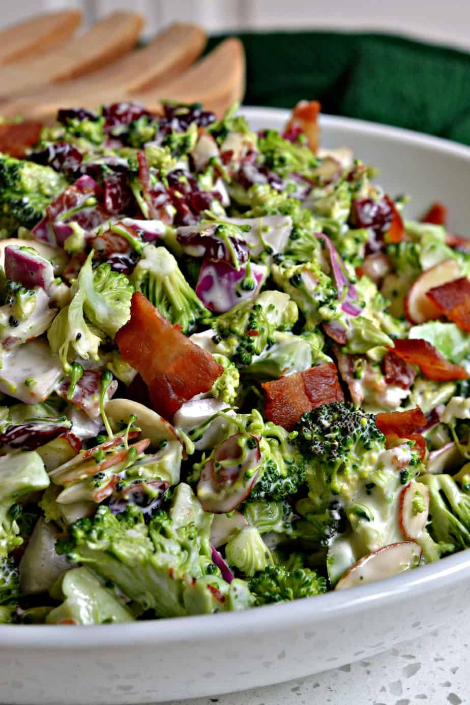 Broccoli salad is a refreshing, crisp summer salad topped with bacon and a creamy dressing