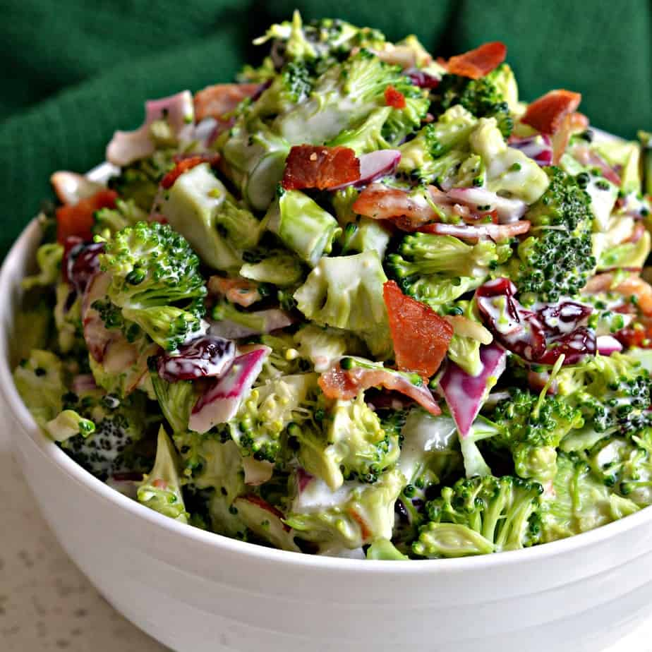 Broccoli Salad is one of my favorite go to summer recipes with fresh broccoli, smoked bacon, onion and sliced almonds.