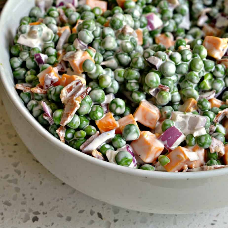 This easy Creamy Pea Salad is one of our favorite summer dishes.