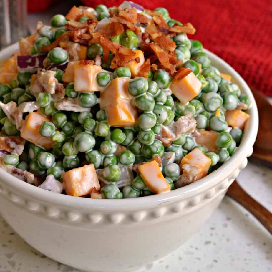 Creamy Pea Salad comes together in less than ten minutes and it is a favorite at family reunions, potlucks and picnics.