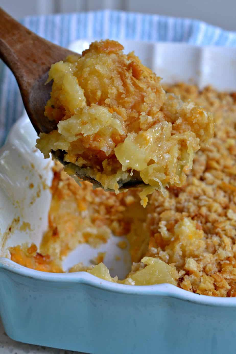 This popular southern Pineapple Casserole is made with sweet pineapple, tasty cheddar cheese and buttery cracker crumbs.
