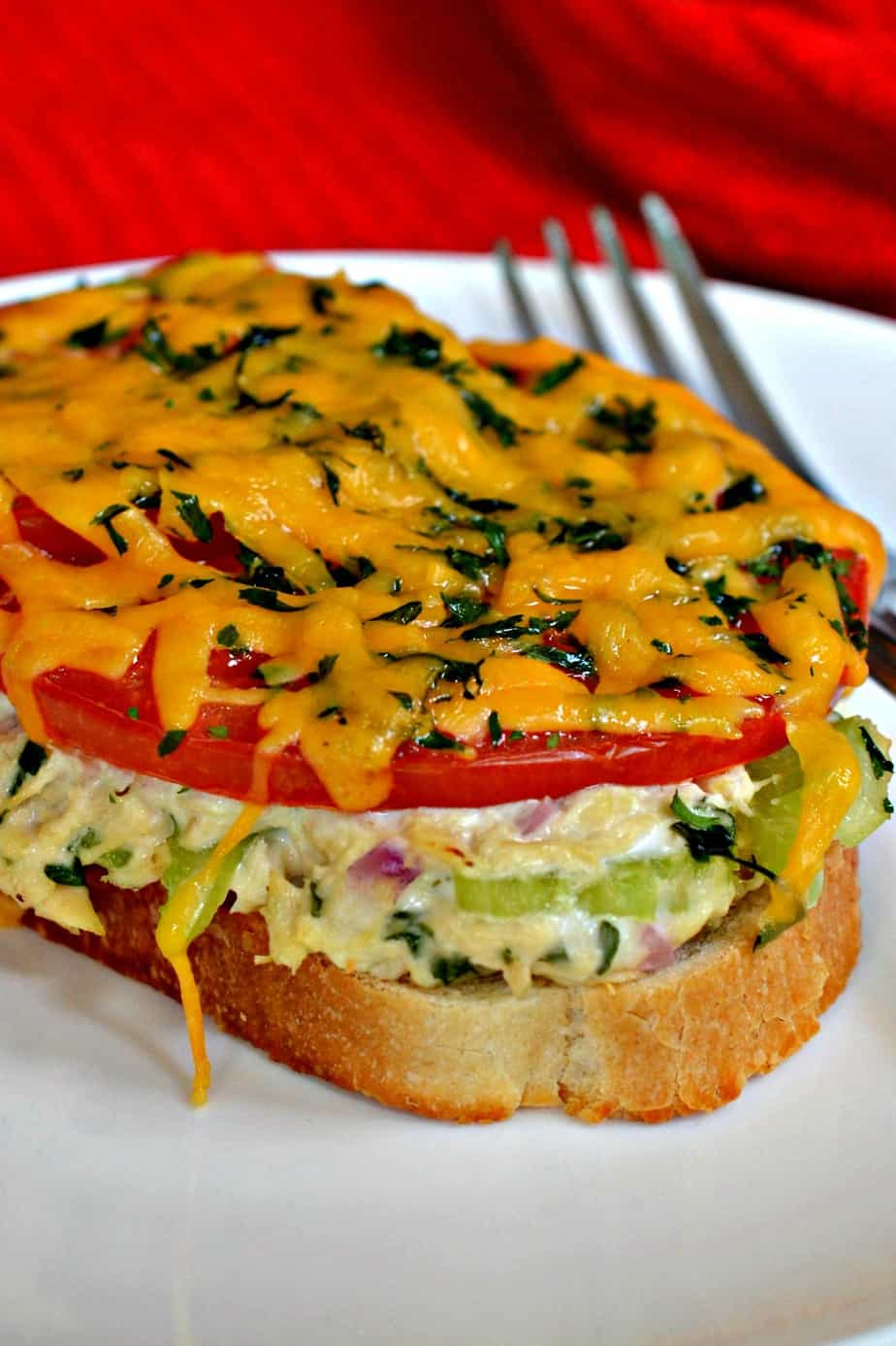 A Tuna Melt is a an open faced sandwich piled with creamy tuna salad, fresh sun ripened tomatoes and tasty cheddar cheese.