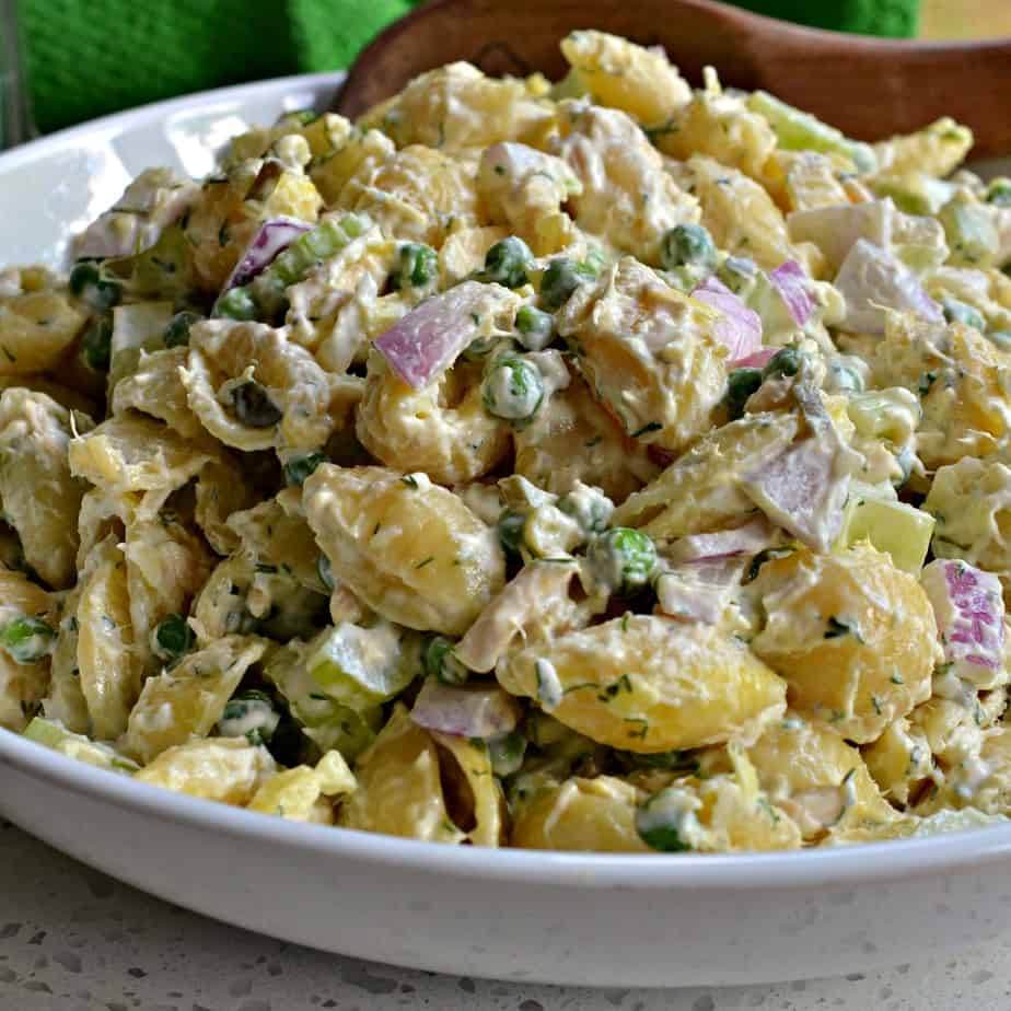 A quick and easy pasta salad with tuna, sweet peas, crisp celery and red onion in creamy mayo with dill pickle relish.