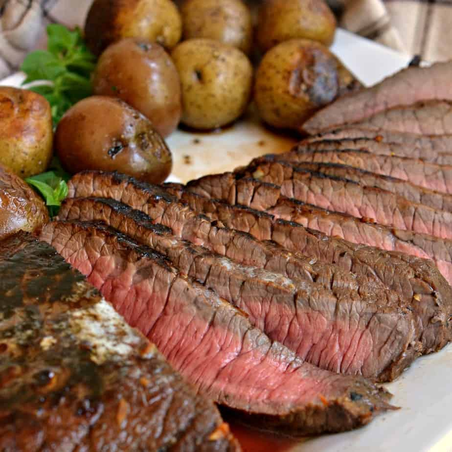 This London Broil recipe includes a flavorful eight ingredient tenderizing marinade.