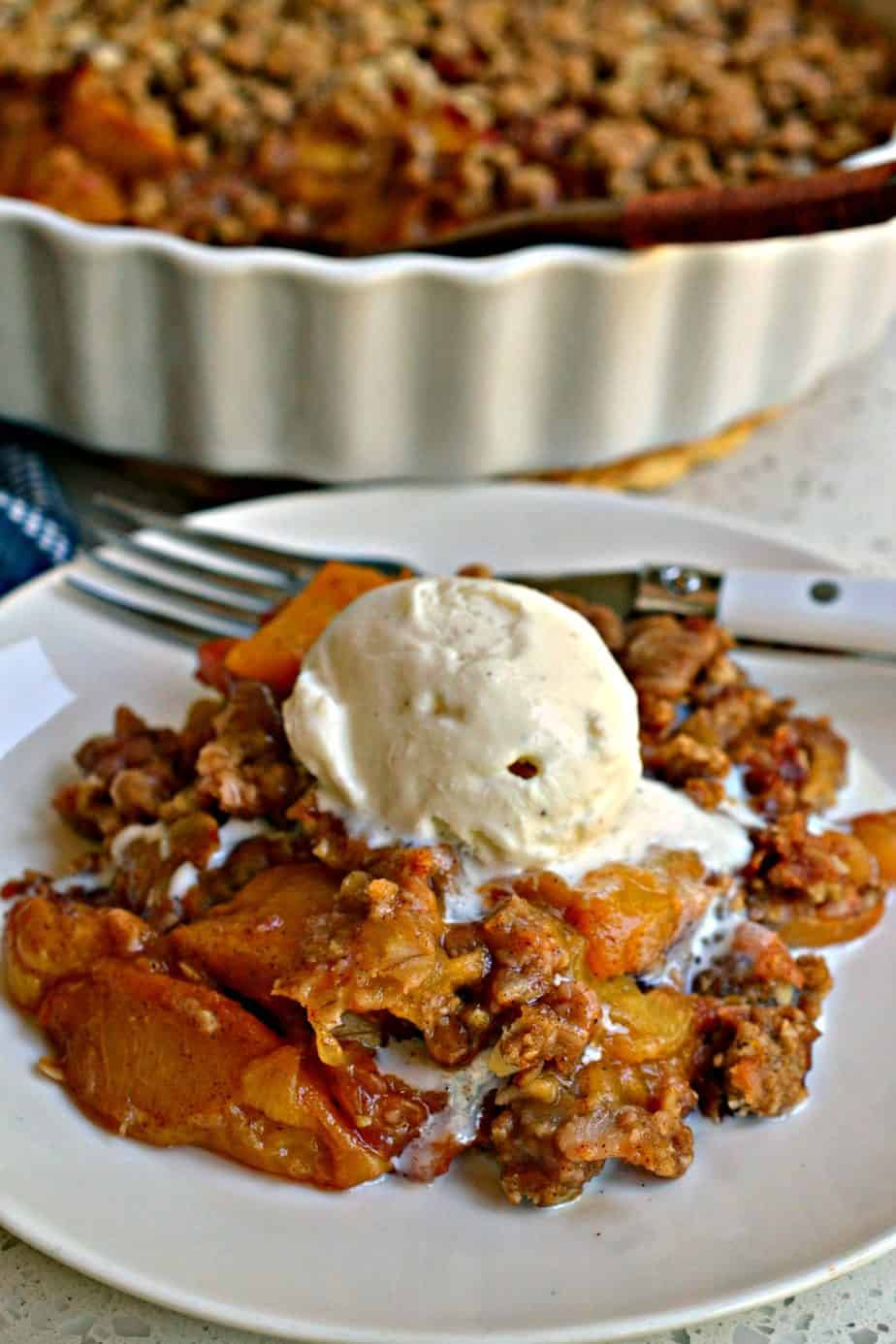 This delicious peach crisp is best served warm with a scoop of vanilla ice cream.
