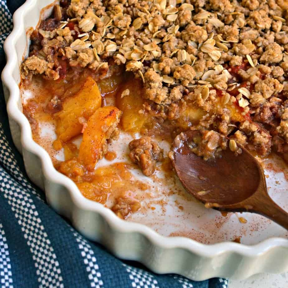 This lightly sweetened fresh peach crisp is made with common pantry ingredients.