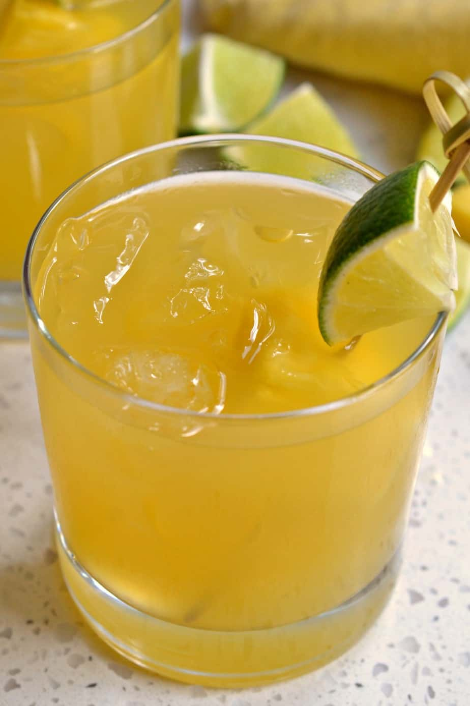 An easy party worthy pineapple cocktail that is made in less than five minute in a blender or two minutes in a glass.