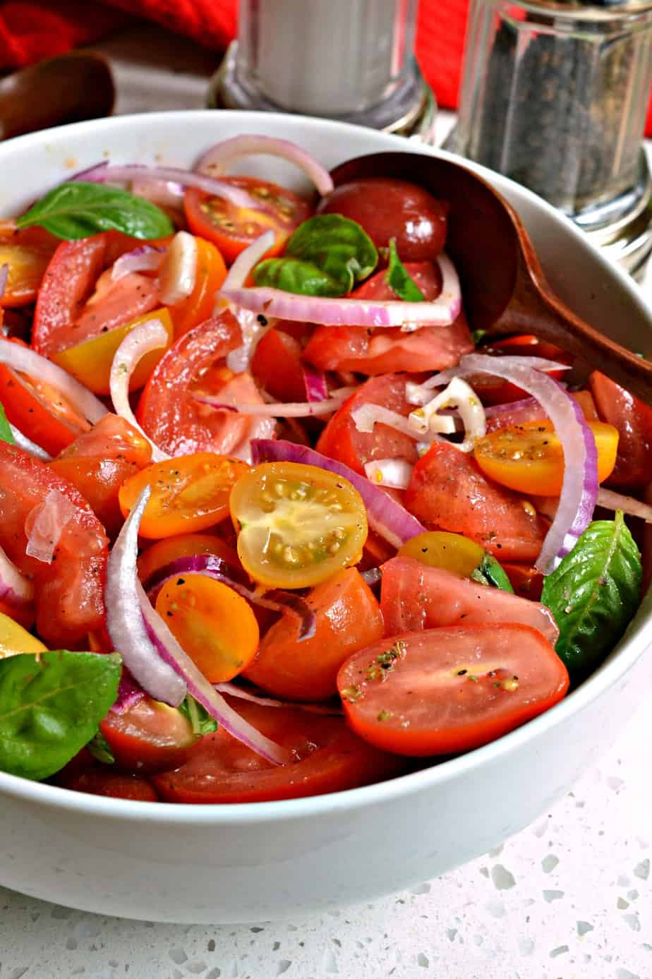 An easy yet flavorful tomato salad made with simple ingredients.