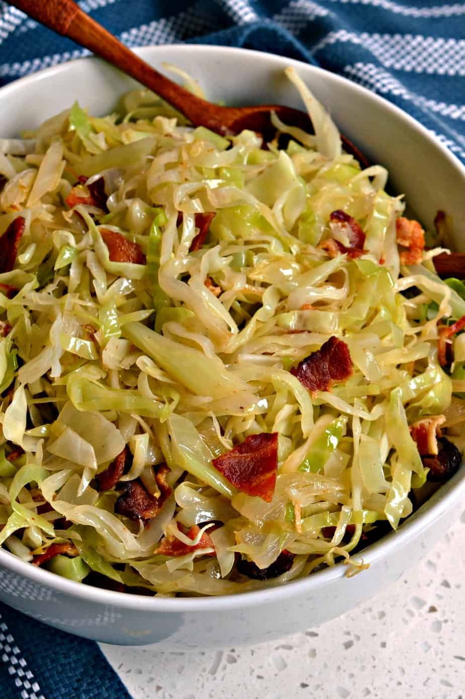 Southern Fried Cabbage is a simple six ingredient recipe that brings cabbage, onions and bacon together in perfect harmony.