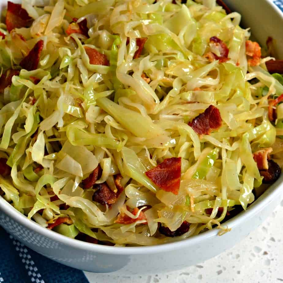 Southern Fried Cabbage is a simple yet scrumptious dish of pan fried cabbage, onions and bacon.