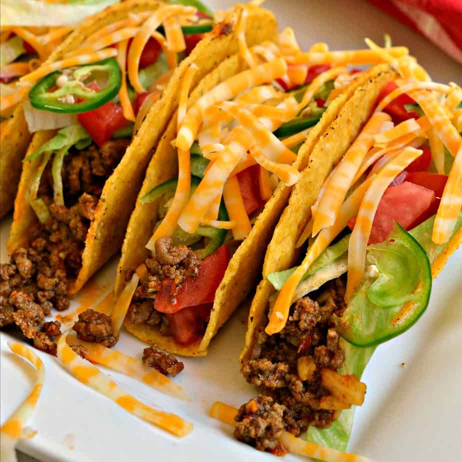 These scrumptious ground beef tacos with homemade taco seasoning are easy and quick for busy family weeknight meals.