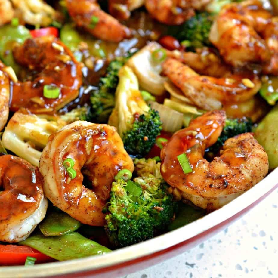 This easy Garlic Shrimp Stir Fry is delicious served over rice or zucchini noodles.