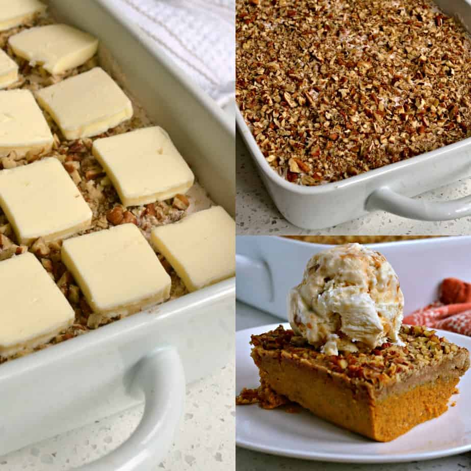 Pumpkin Dump Cake is an easy one-pan cake that is all of the best parts of pumpkin pie topped with crispy crumble topping.