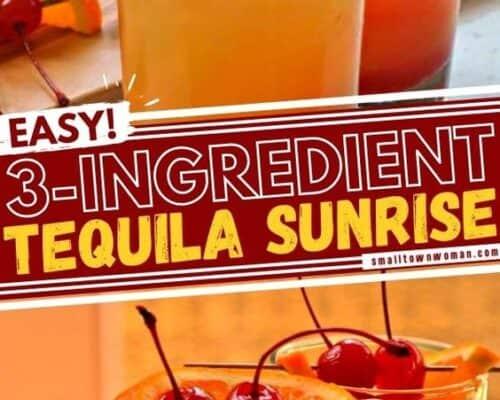 Tequila Sunrise garnished with maraschino cherries
