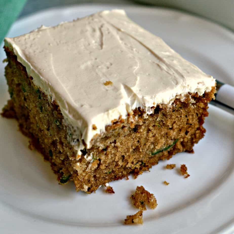 The warm spices along with a brown sugar cream cheese frosting take this zucchini cake over the top.