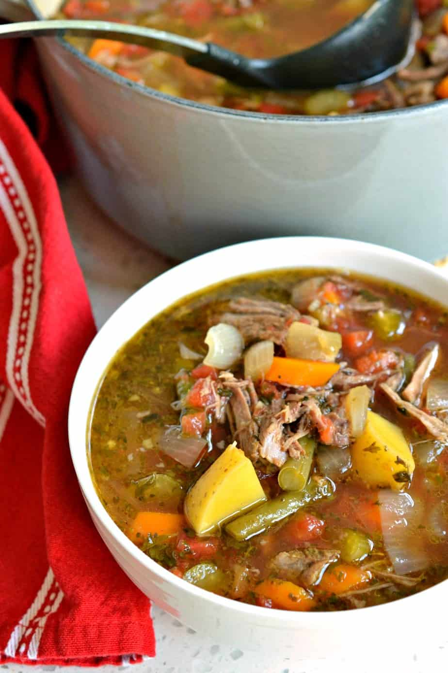 I like to make this Vegetable Beef Soup with a slow simmered chuck roast.