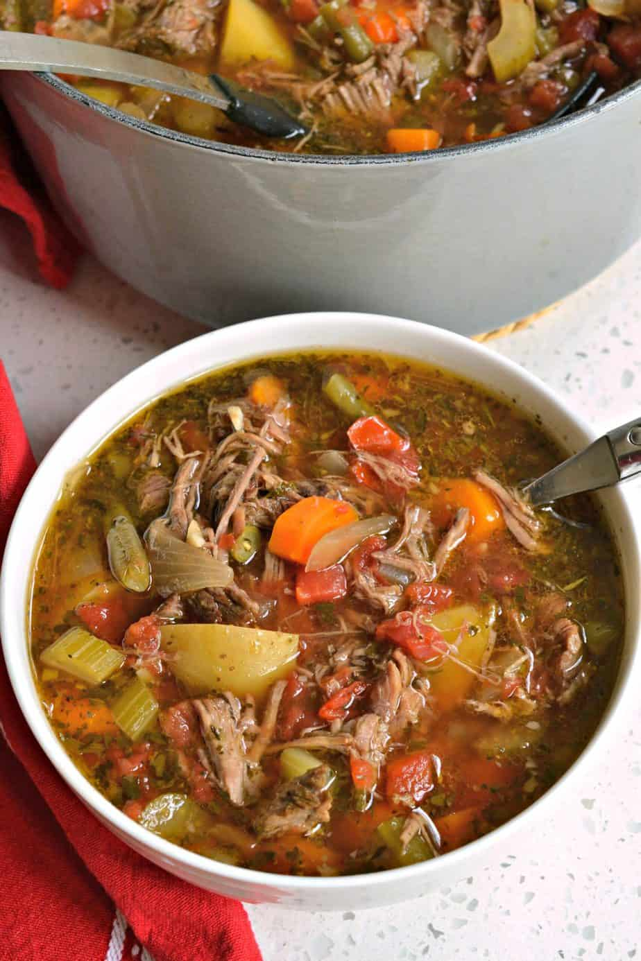A slow simmered Vegetable Beef Soup with tender chunks of beef and wholesome fresh vegetables.
