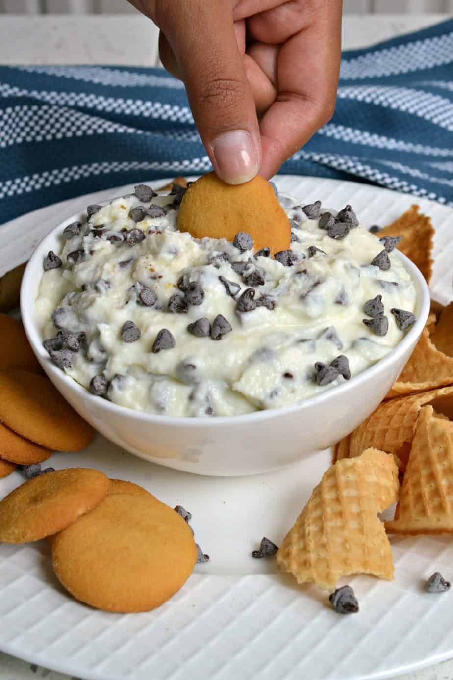 This delicious and fun party worthy Cannoli Dip tastes like the best part of cannoli in a creamy dip form.