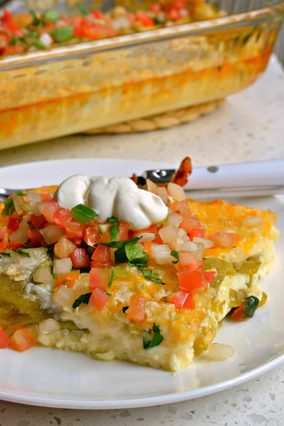 Chile Relleno Casserole is loaded with green chiles, Monterey Jack cheese and cheddar cheese.