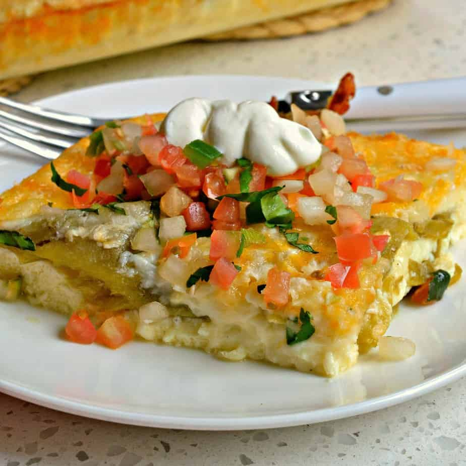 This incredibly simple Chile Relleno Casserole brings green chiles and loads of melted cheese together in a bed of puffy eggs.