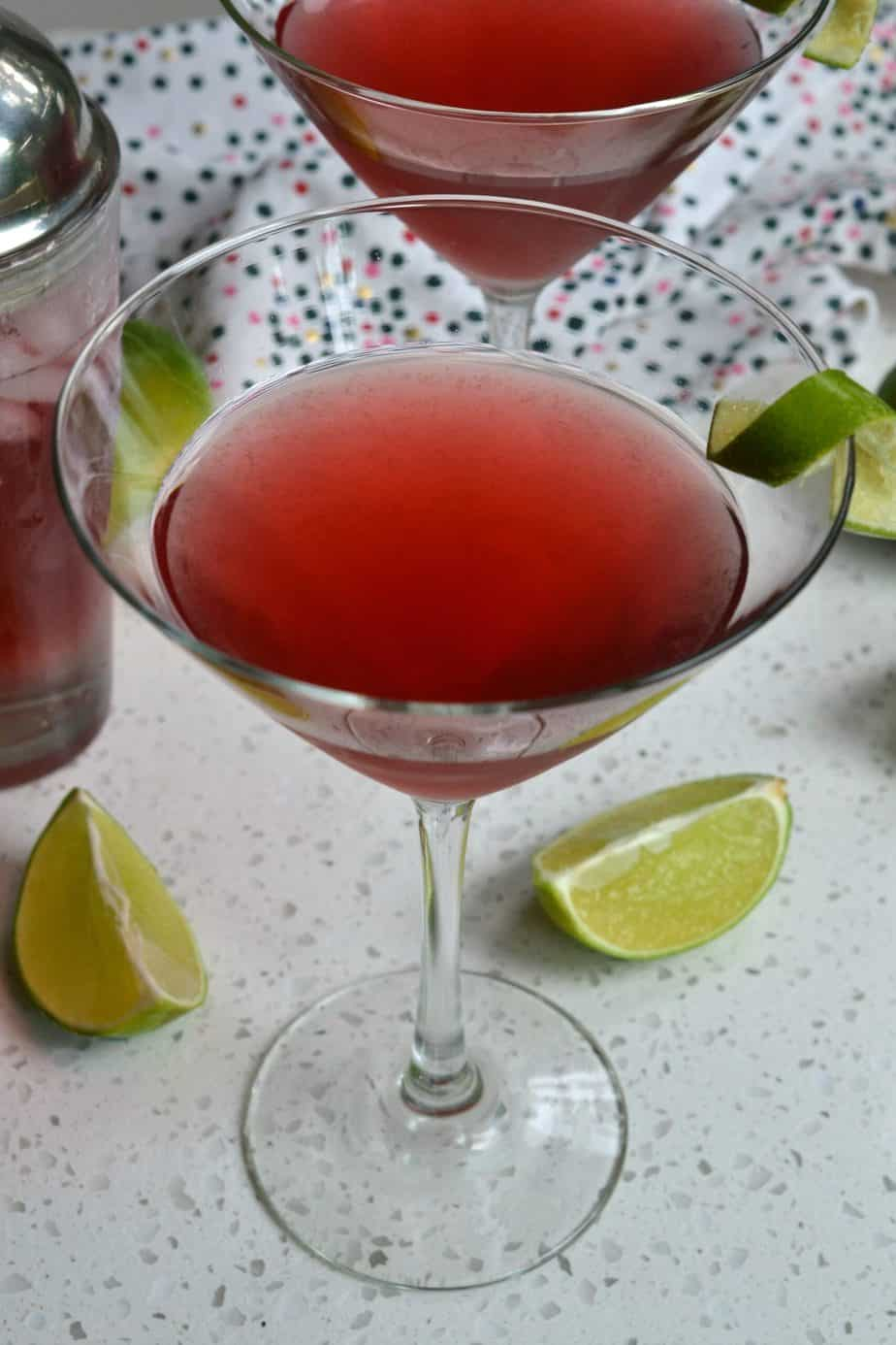 This tasty and gorgeous cranberry orange Cosmopolitan Drink is made in less than two minutes in a cocktail shaker.