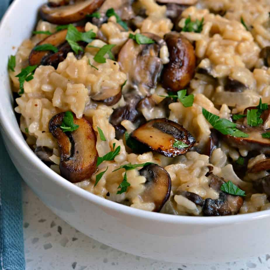 Mushroom Risotto is a creamy luscious Italian rice dish made with chicken broth and fresh mushrooms.