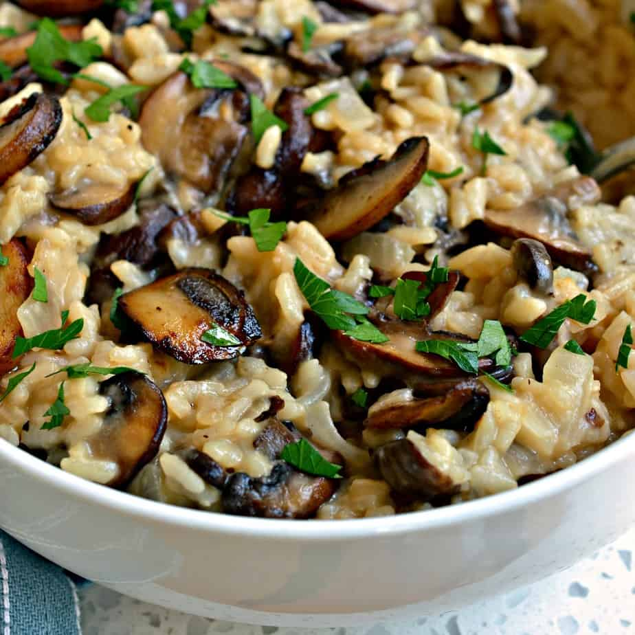 This delicious mushroom risotto goes with beef, chicken, pork or fish.