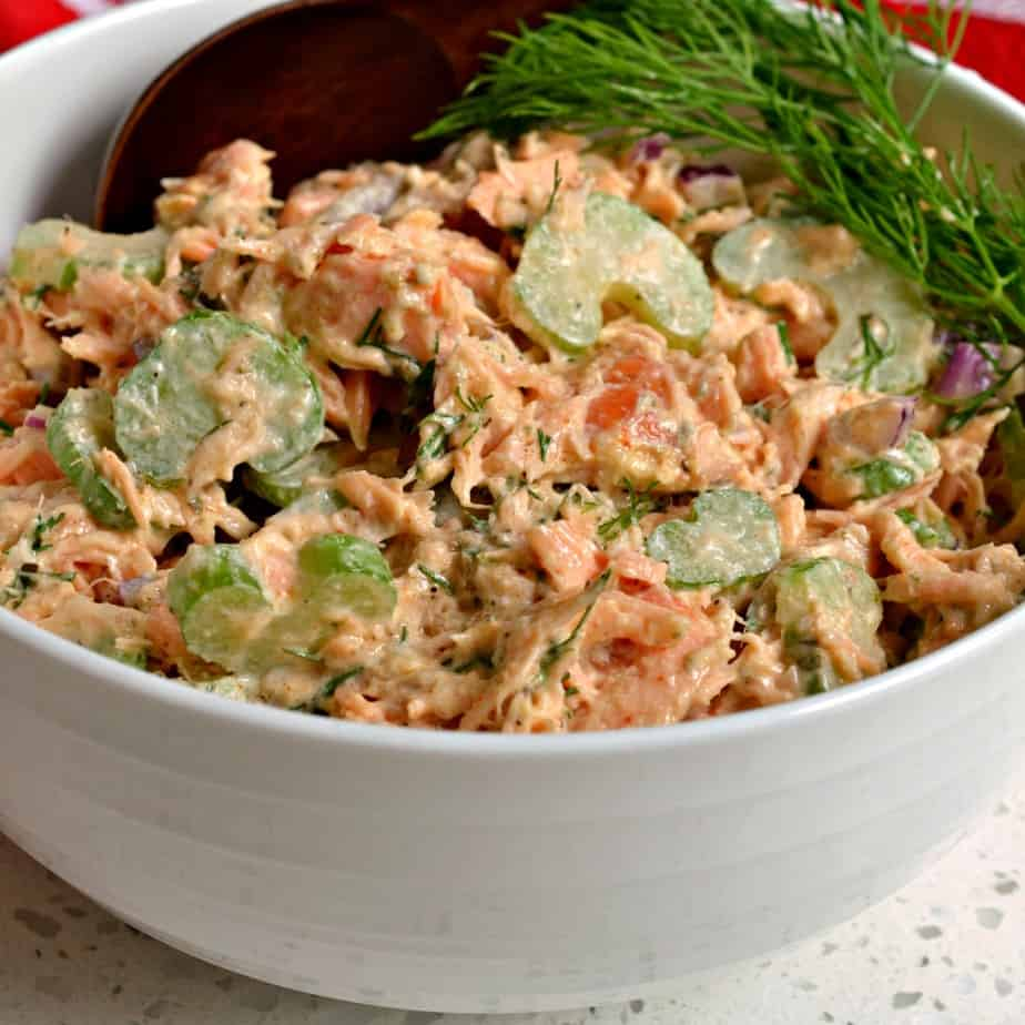 You can make this salmon salad with grilled salmon, smoked salmon, poached salmon or even canned salmon if you so desire