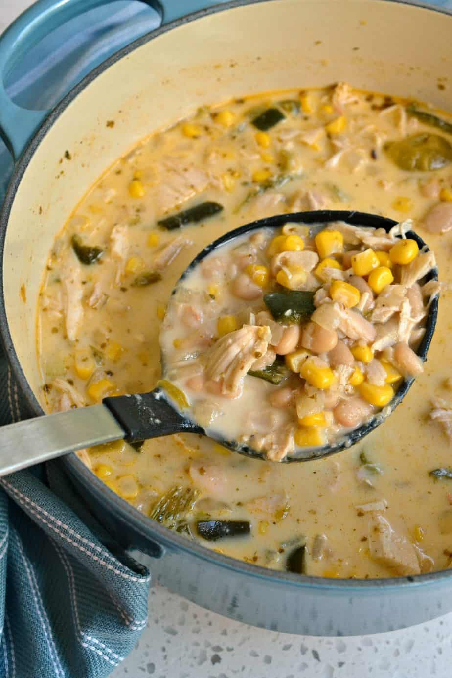 This White Chicken Chili combines Great Northern beans, rotisserie chicken, sweet corn, poblano peppers and Anaheim peppers.