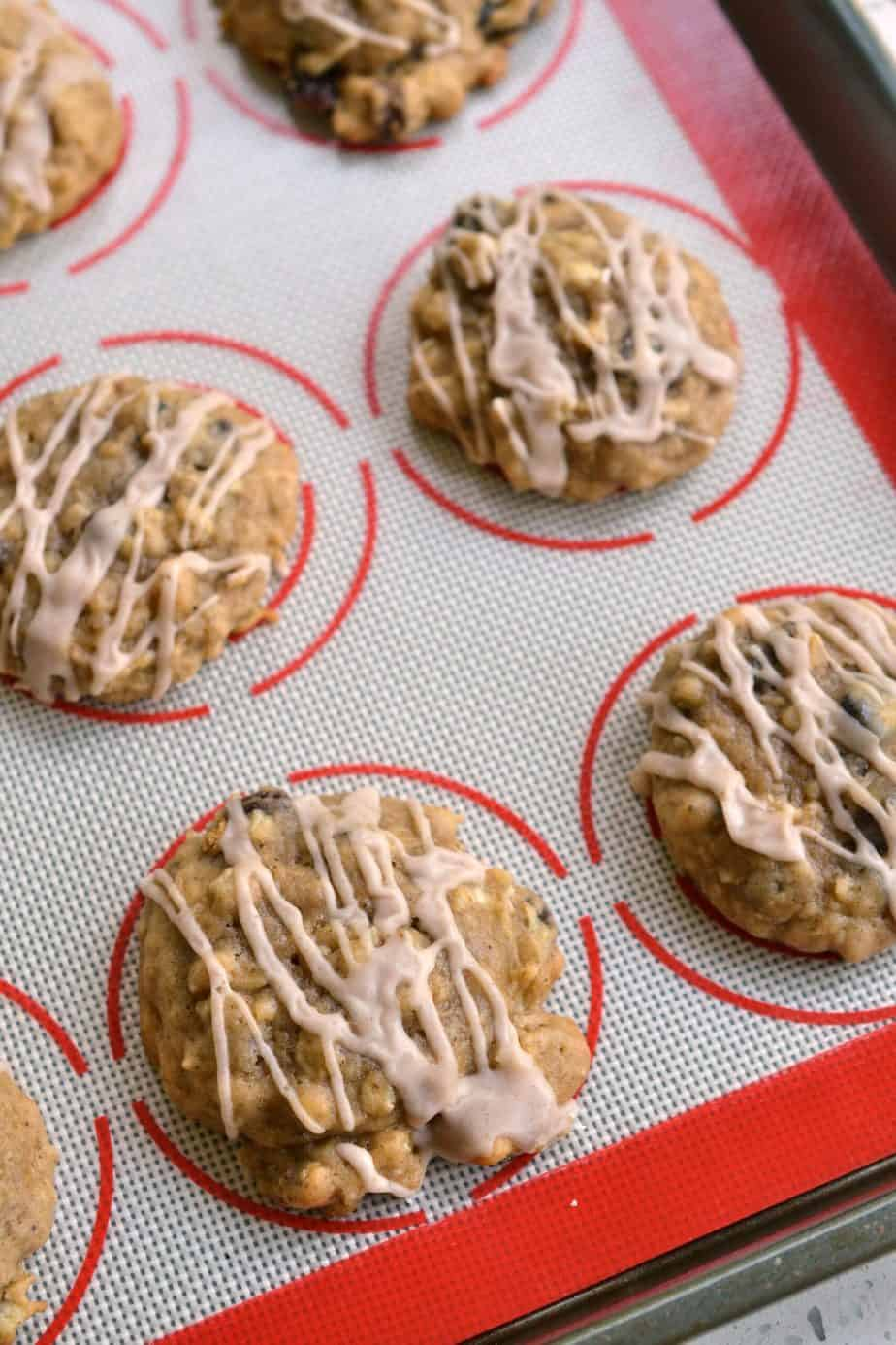 These soft cake like Apple Cookies are plump full of fresh apples, chewy oats, sweet raisins and crunchy walnuts.