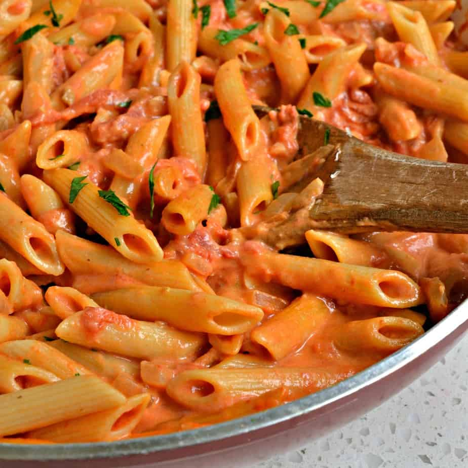 Penne alla Vodka is pasta in a creamy tomato sauce with sun ripened tomatoes, onions, garlic, vodka and Parmesan Cheese.