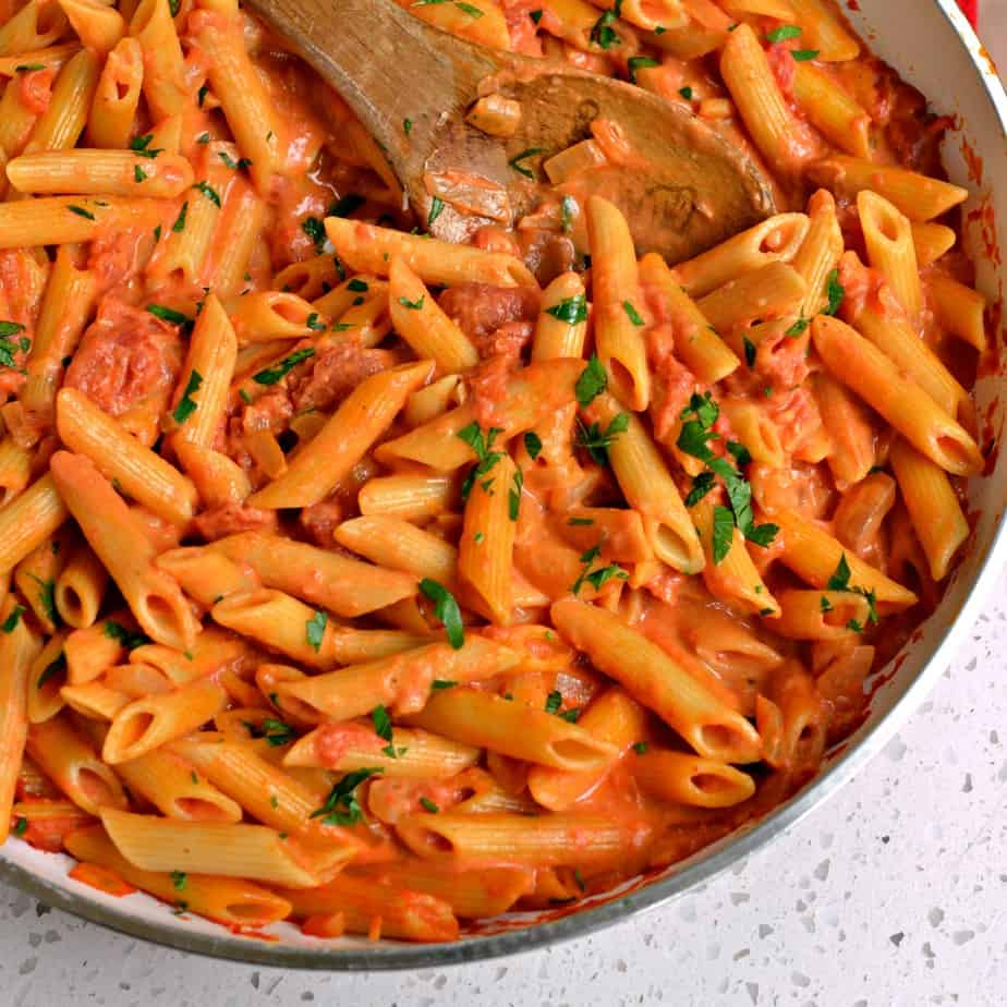 Penne alla Vodka is pasta in a rich creamy slightly tangy tomato sauce with garlic, onions, crushed tomatoes and vodka.