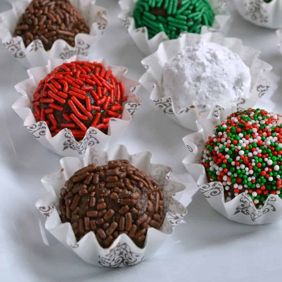 These fun and festive no bake chocolate Rum Balls are made easy with six ingredients in your food processor.
