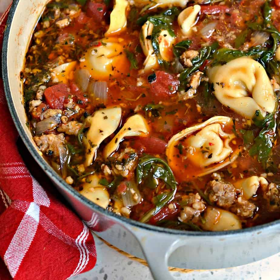This Tortellini Soup is loaded with Italian Sausage, tomatoes, cheese tortellini, arugula and a blend of herbs and spices.