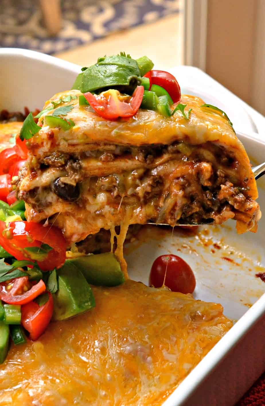 Beef Enchilada Casserole with homemade Enchilada Sauce