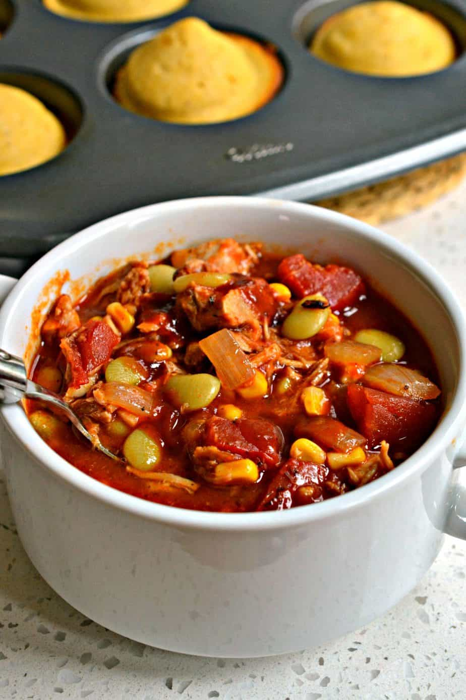 Brunswick Stew has a tangy sweet broth seasoned with barbecue sauce and a perfect blend of spices.