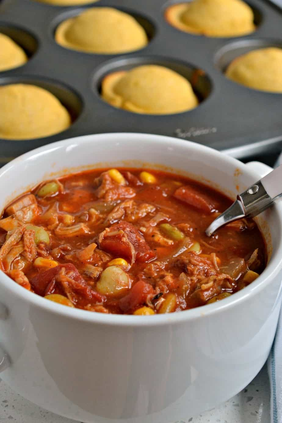 With already cooked meats this Brunswick Stew recipe comes together quickly and easily.