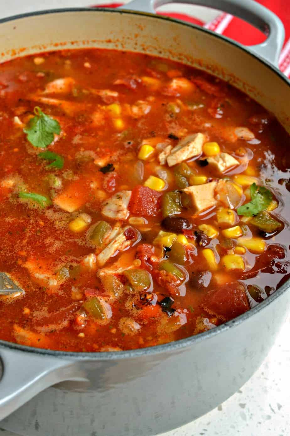Chicken Taco Soup is bursting with fresh flavors from corn, black beans, fire roasted tomatoes and green chiles.