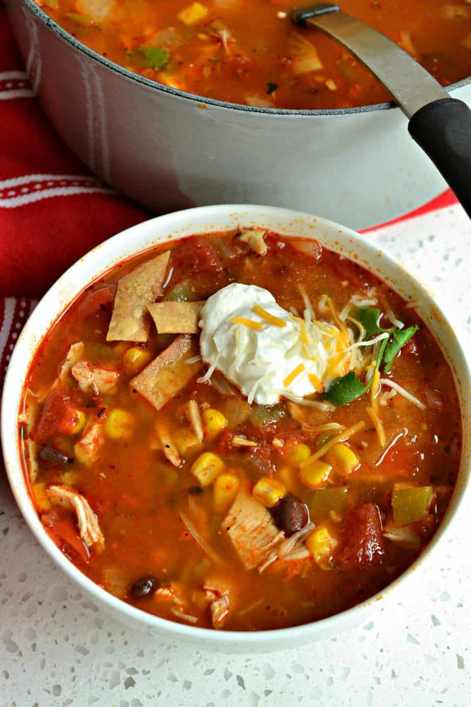 This delicious yet simple Chicken Taco Soup is made in less than thirty minutes using already cooked rotisserie chicken.