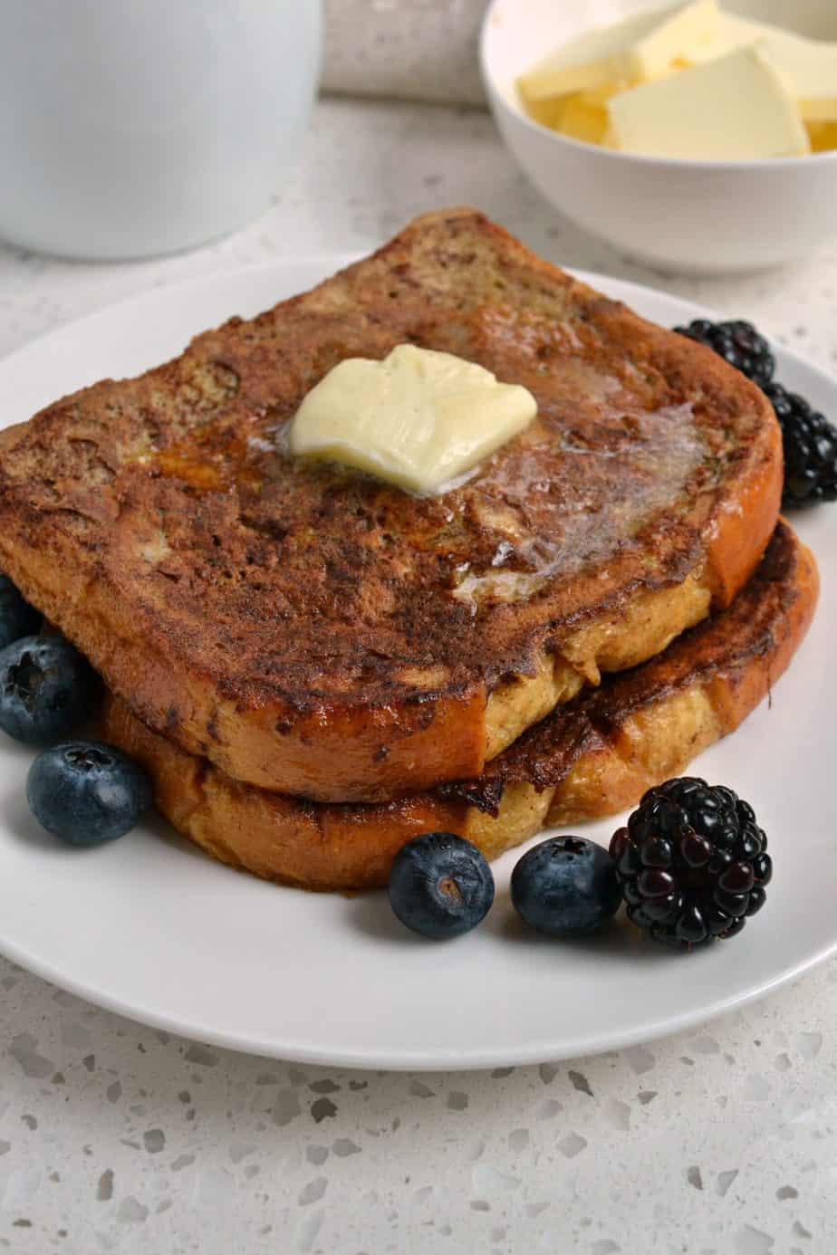 Friends and family just love this delectable French Toast with warm vanilla maple syrup.