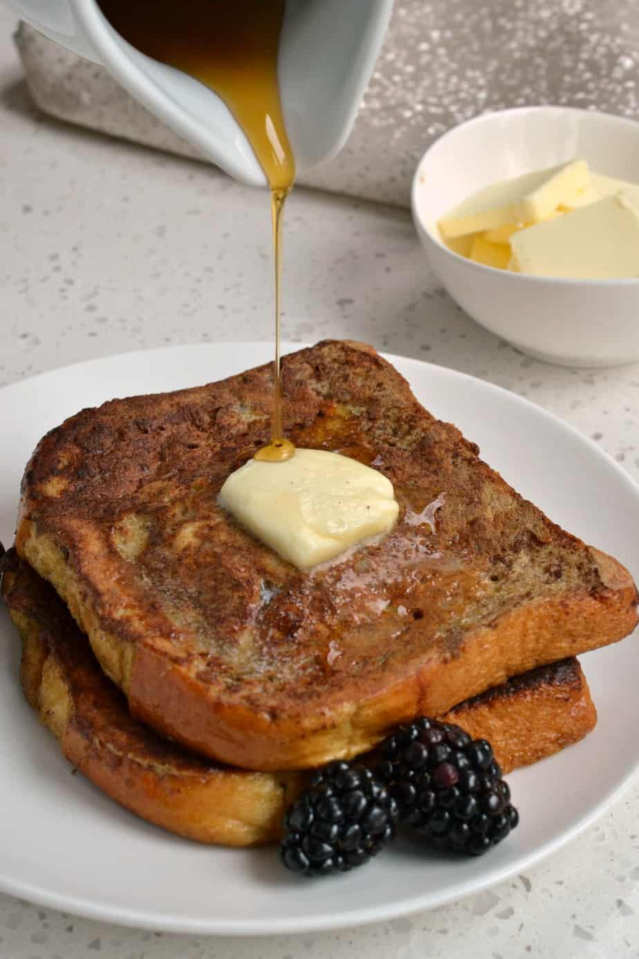 This French Toast Recipe brings brioche bread, eggs, milk, cinnamon, nutmeg, together for the ultimate breakfast.